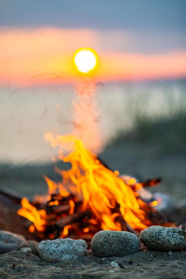 sunset camp fire