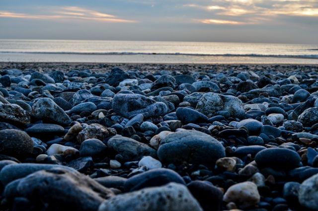 Pebbles at dusk