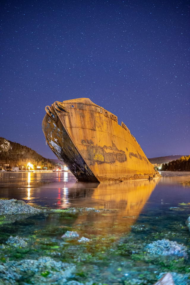 Conception Harbor wreck under the stars