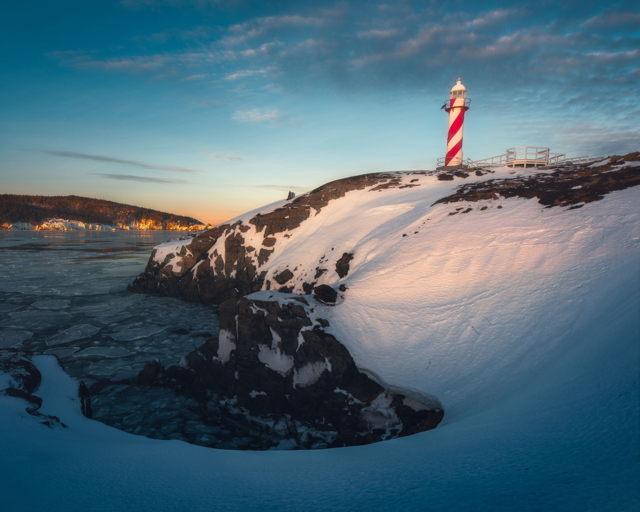 Winter Light Heart's Content Lighthouse