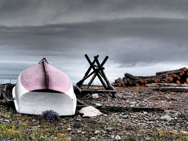 Pink bottomed boat