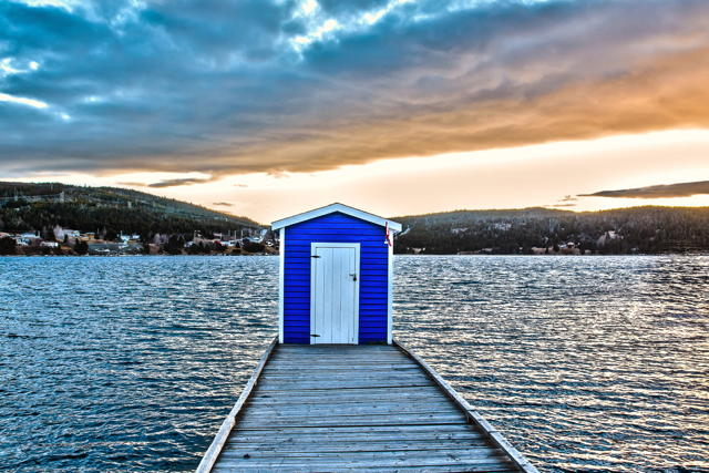 Blue Shed at Sunset
