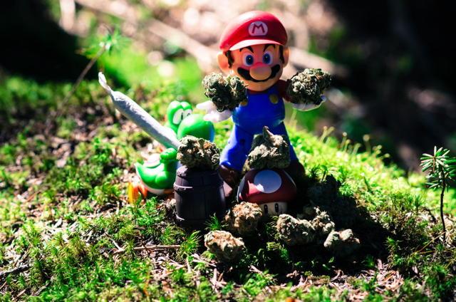 Smoke. Mario and Yoshi.Chilling