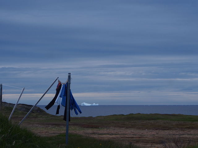 Clothesline in the wind and an iceberg
