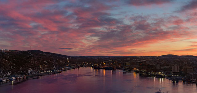 St Johns Harbour sunset panorama
