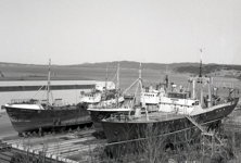 Marystown - Fishing Trawlers undergoing annual refit at the Marystown Shipyard - 1970s - Allan Stoodley