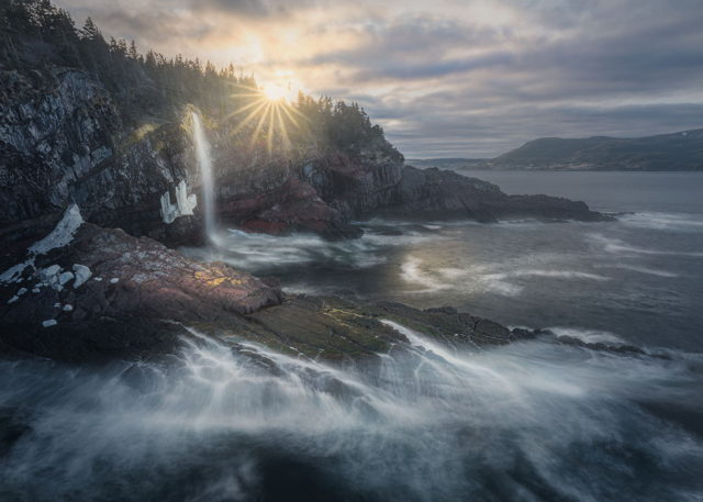 Sunset Over the Waterfall