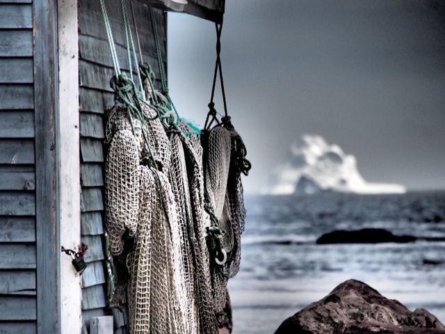Fishing net and iceberg