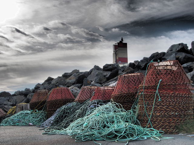 Crab traps by the wharf