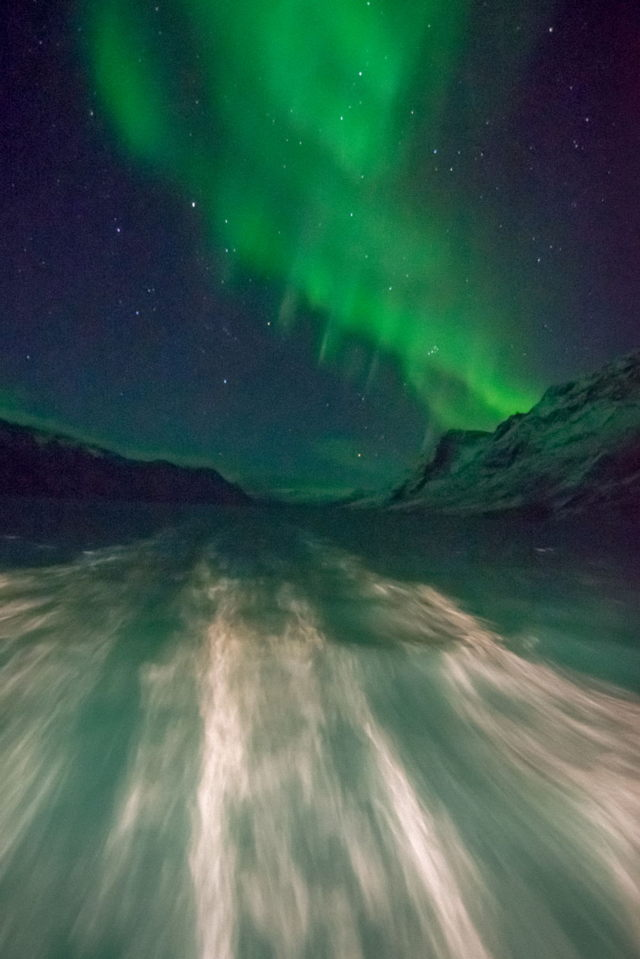 Northern Lights and Ship's Wake, Greenland