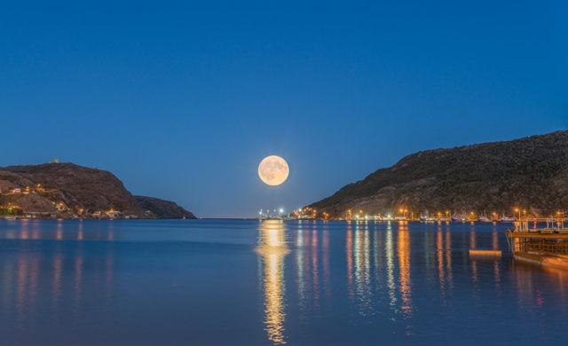 Moonrise through the Narrows