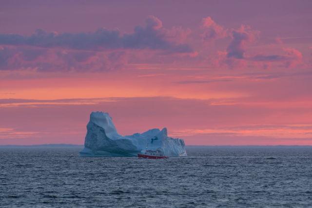 Iceberg and Tour Boat Bonavista Sunset