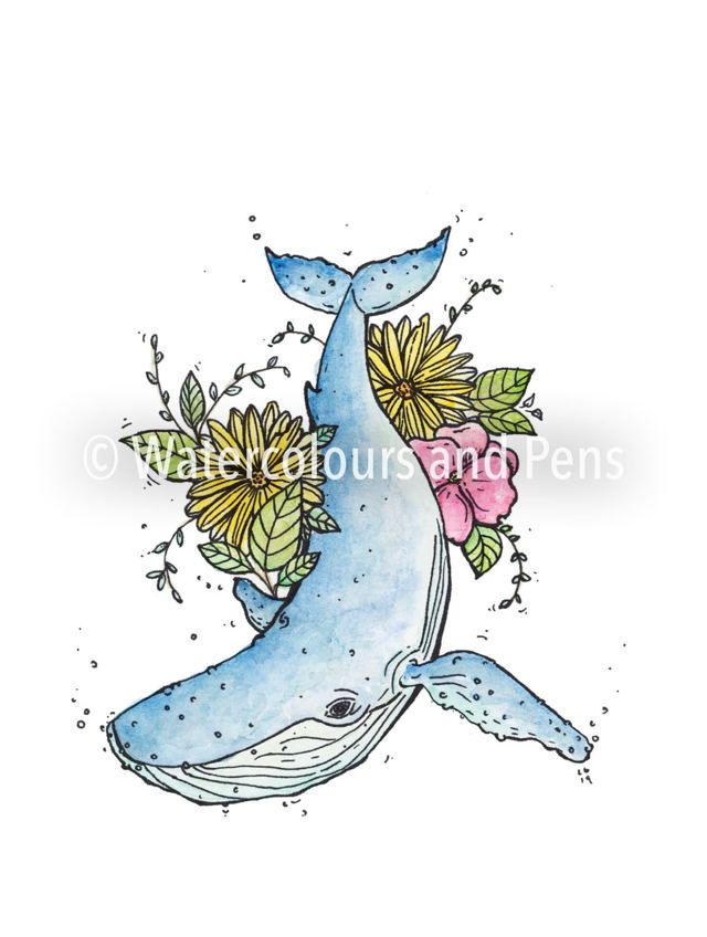 the Humpback with wildflowers