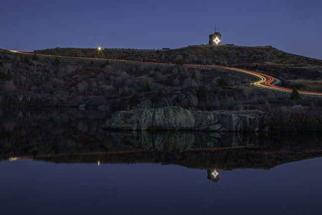 Cabot Tower Reflection with Christmas Star