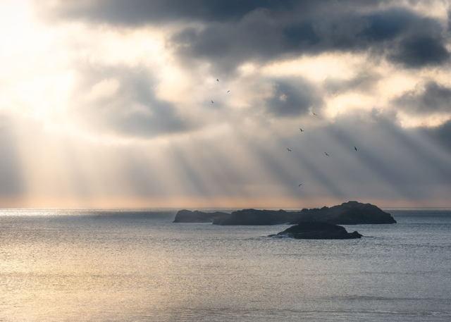 Sun Beams on the Ocean