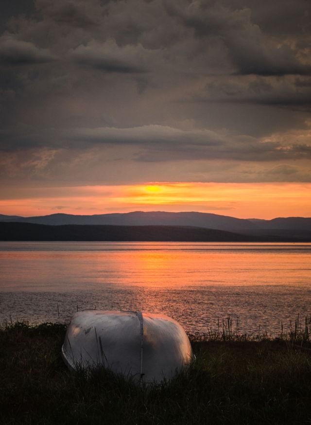 Boat during sunrise