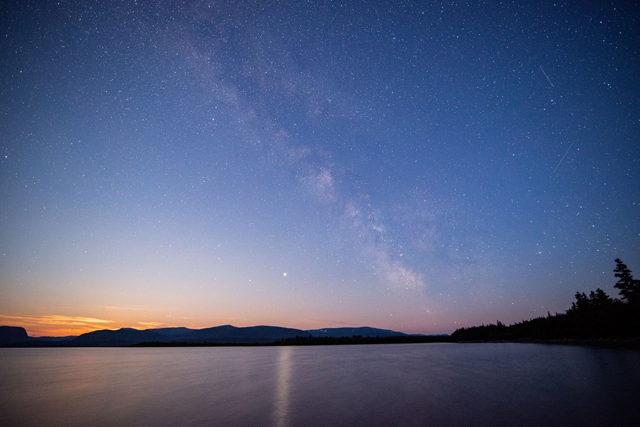 Milky way over Portland Creek Pond