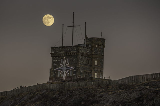 Cabot Tower Star with Full Moon
